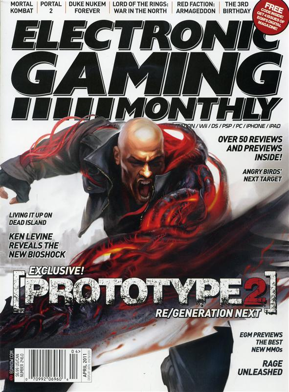 Electronic Gaming Monthly (EGM) Issue 246 was released April 2011 and features Prototype 2 on the cover
