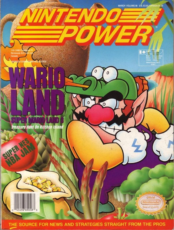 Nintendo Power Issue 58 was released March 1994 and features Wario Land on the Cover.