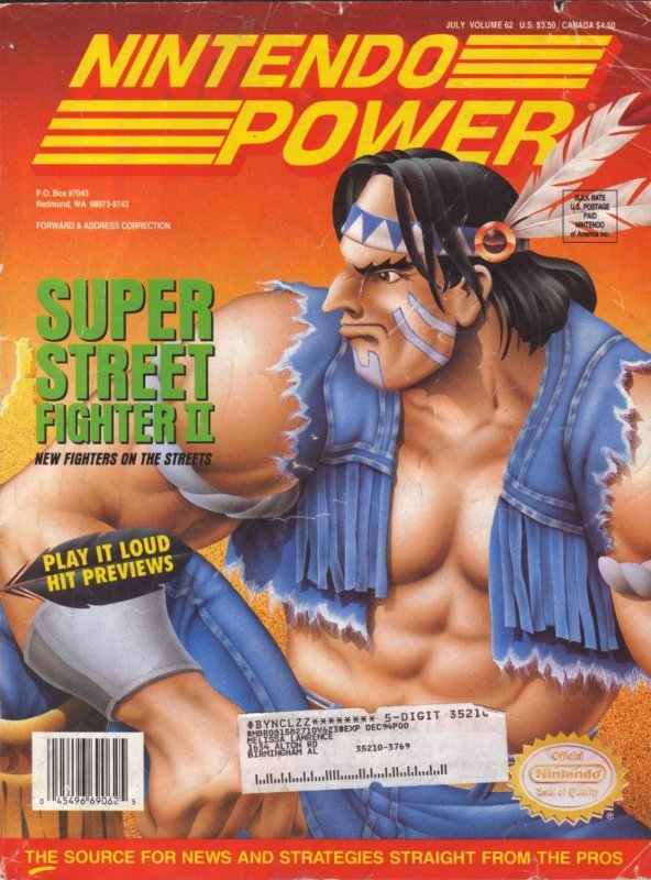 Nintendo Power Issue 62 was released July 1994 and features Super Street Fighter II on the cover.