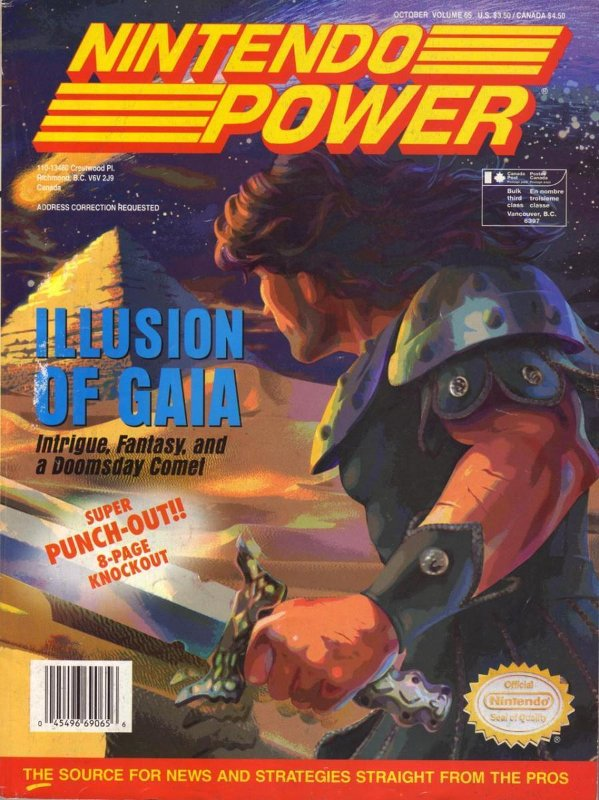 Nintendo Power Issue 65 was released October 1994 and features Illusion of Gaia on the cover.