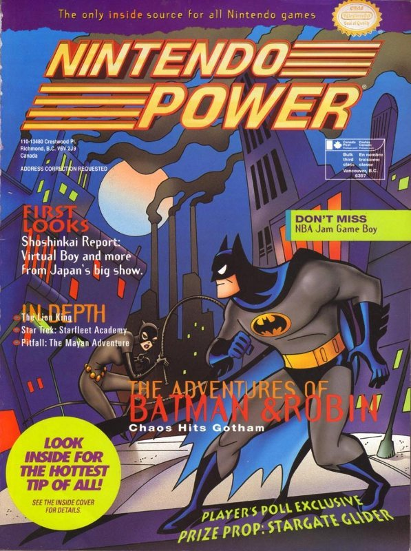 Nintendo Power Issue 68 was released January 1995 and features the number '95 on the cover and Batman & Robin on the inside cover.