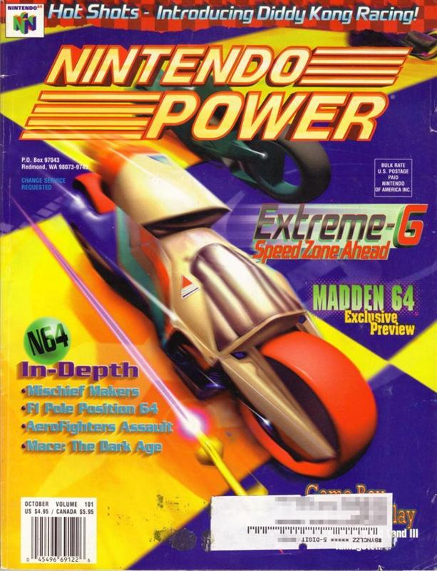 Nintendo Power Issue 101 was released October 1997 and features Extreme-G on the cover.