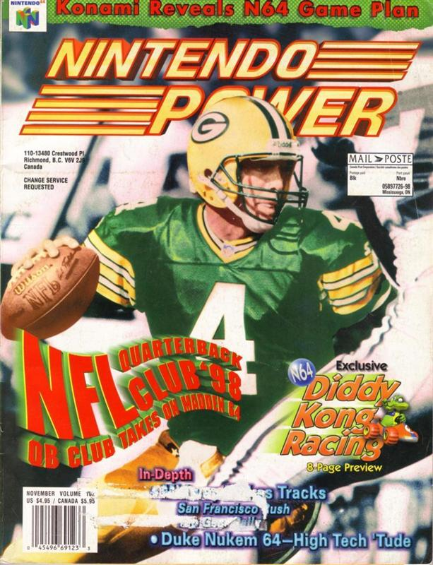 Nintendo Power Issue 102 was released November 1997 and features NFL QB Club on the cover.